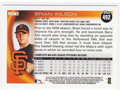 2010 Topps Brian Wilson Back