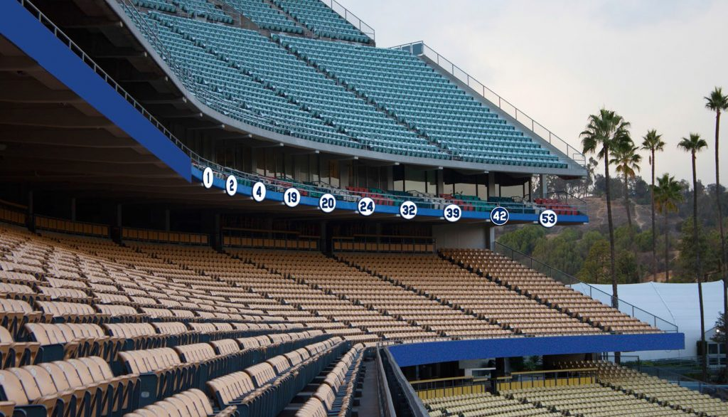 A rendering of how the retired numbers will look after repositioning.