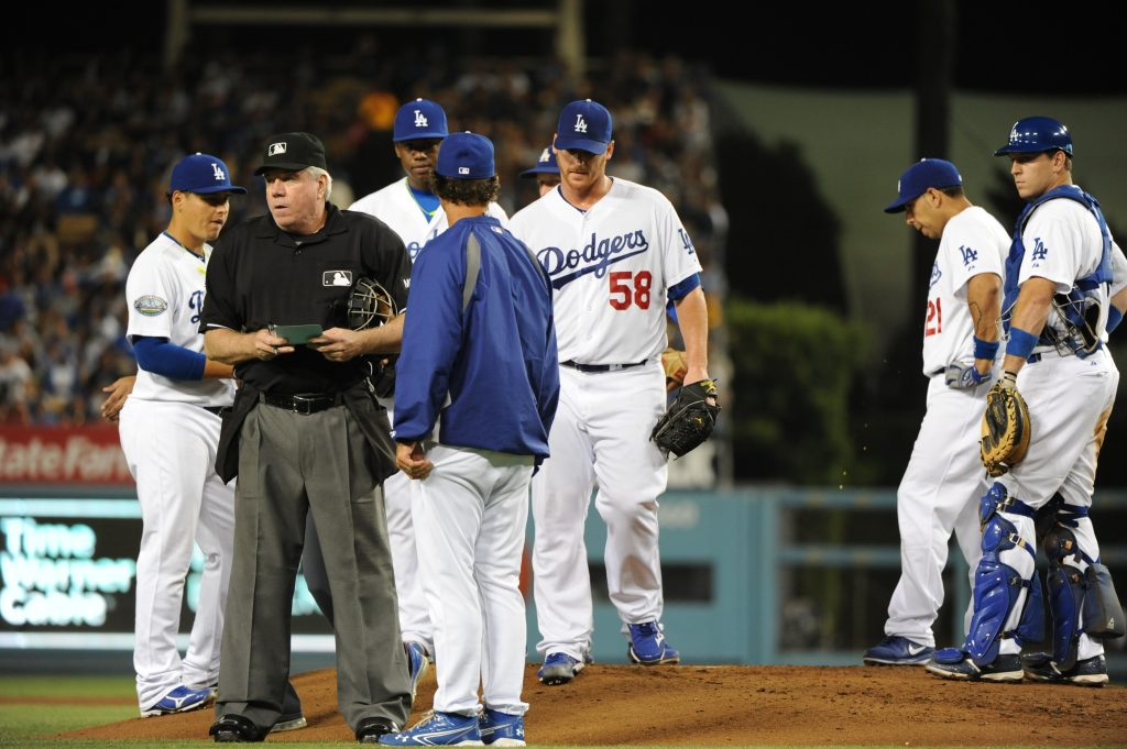 Chad Billingsley leaves the mound in his final appearance of 2012, on August 24 (Jill Weisleder/Los Angeles Dodgers)