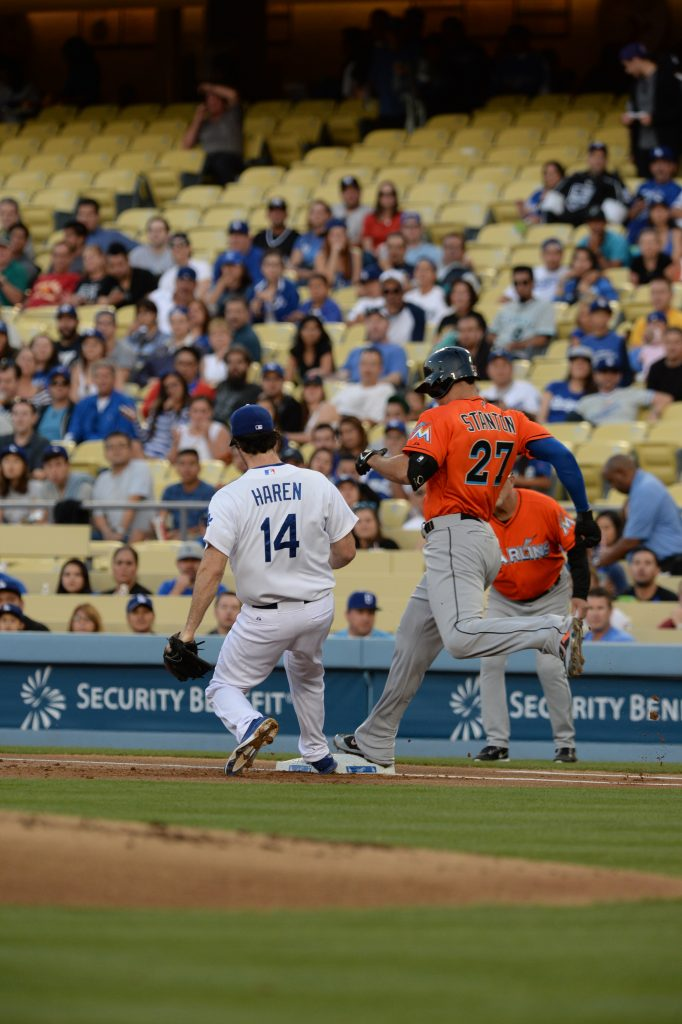 A first-inning safe call May 12 on Giancarlo Stanton was reversed. (Jon SooHoo/Los Angeles Dodgers)