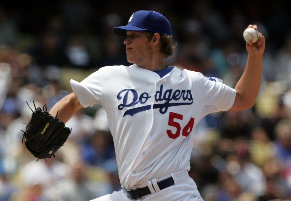 Clayton Kershaw, wearing No. 54, makes the first start of his big-league career, May 25, 2008  (Jeff Gross/Getty Images).