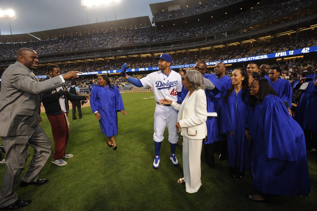 Magic Johnson, Matt Kemp and Rachel Robinson at Dodger Stadium on April 15, 2013. (Juan Ocampo/Los Angeles Dodgers)