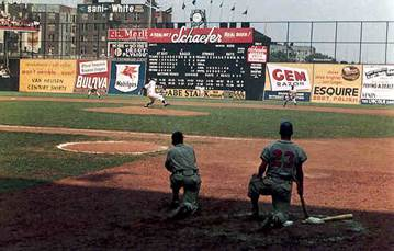 Ebbets Field right field wall and scoreboard