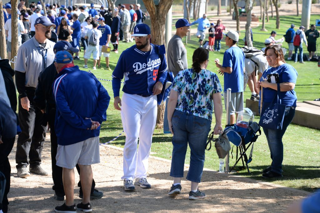 Stephen Fife crossed paths with fans at Camelback Ranch in March. (Jon SooHoo/Los Angeles Dodgers)