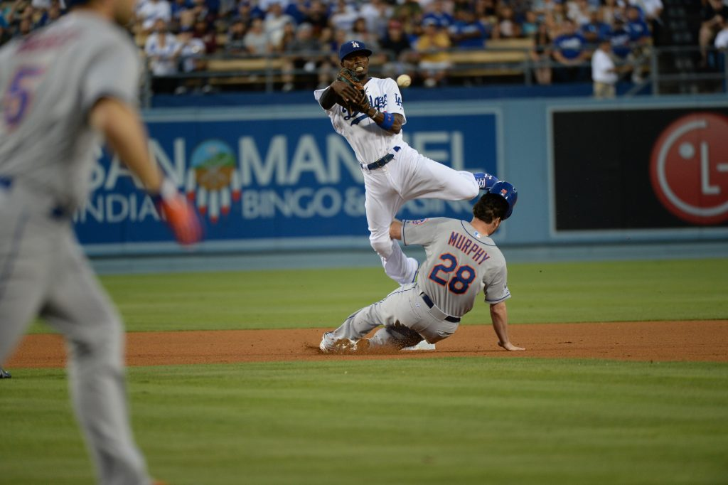 Gordon tied for third among NL second basemen in out-of-zone plays made, according to Fangraphs. (Jon SooHoo/Los Angeles Dodgers)
