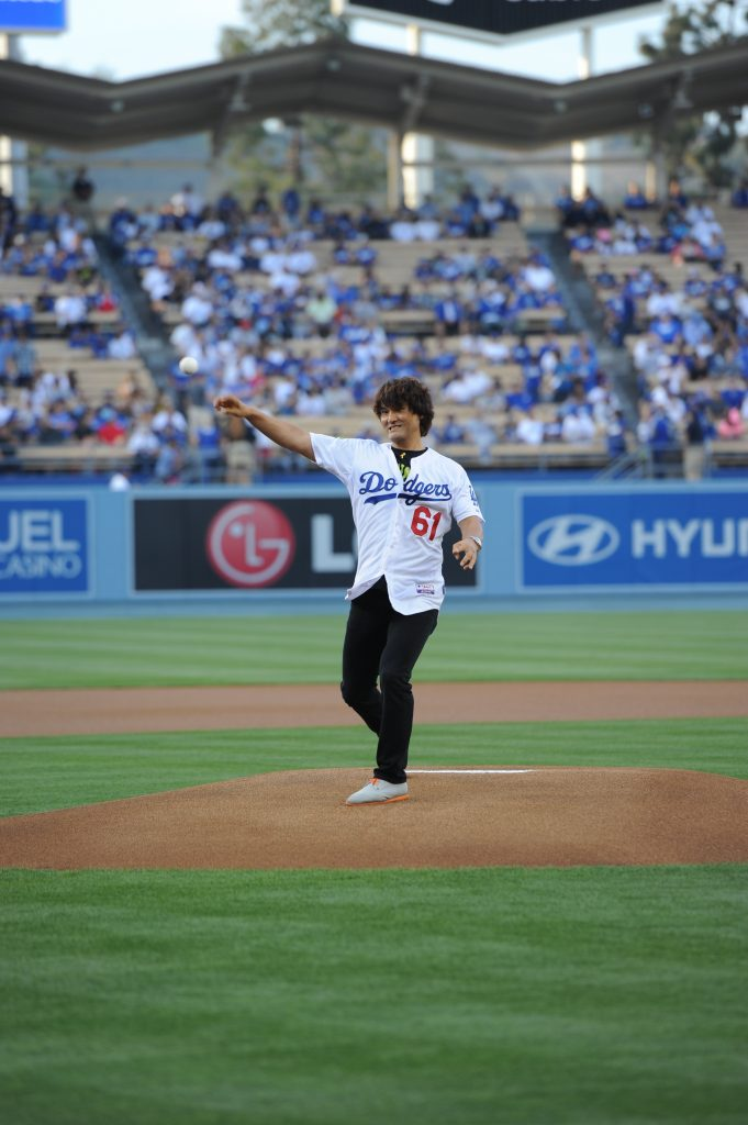 Chan Ho Park throwing the first pitch at Dodger Stadium in May. (Jill Weisleder/Los Angeles Dodgers)