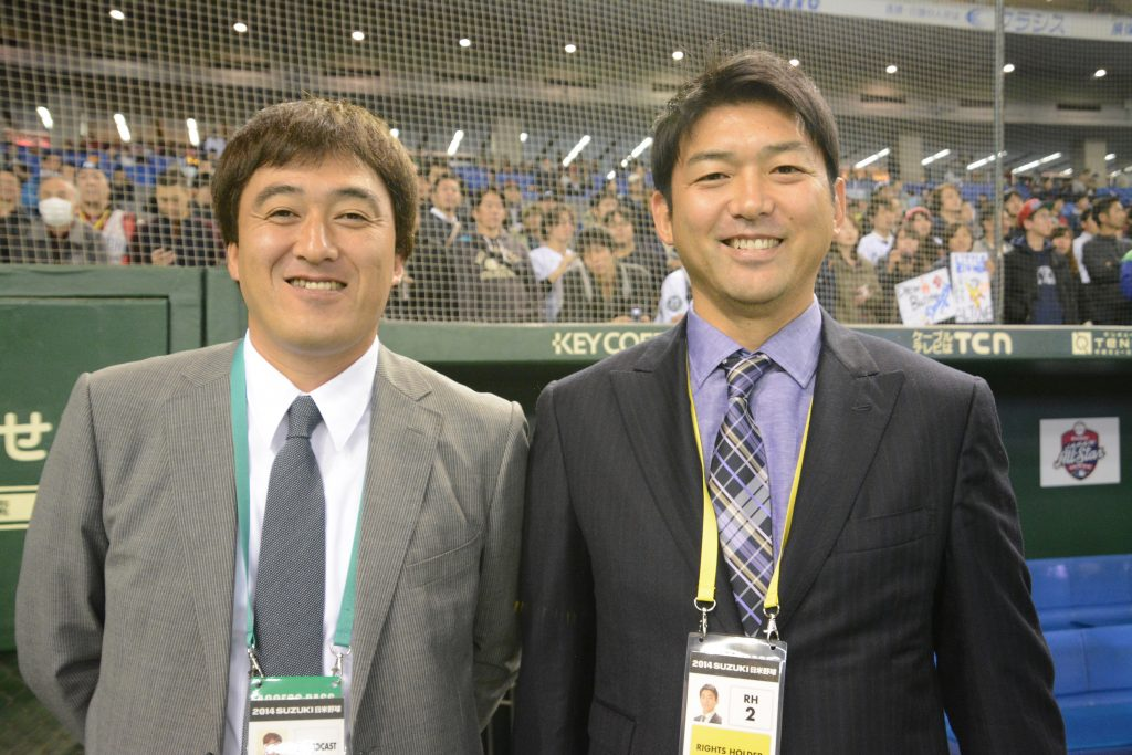 Kaz Ishii and Takashi Saito were on hand at today's game. (Ben Platt/MLB.com)