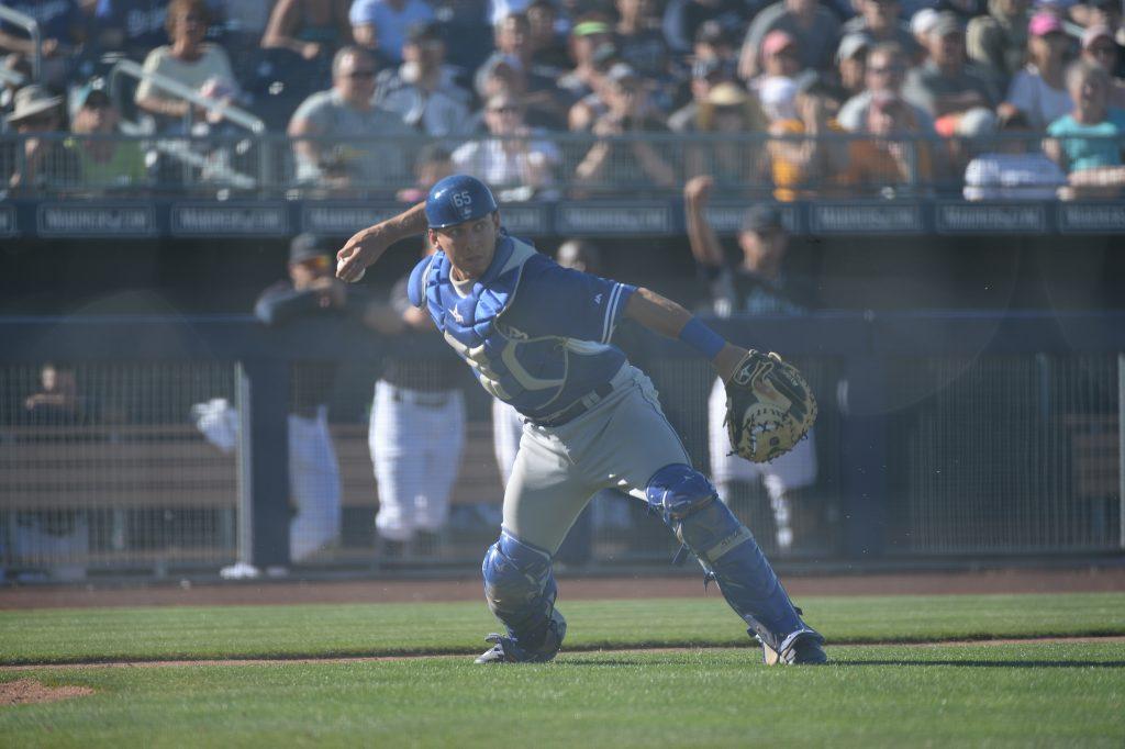 Austin Barnes in action during Spring Training (Jon SooHoo/Los Angeles Dodgers)
