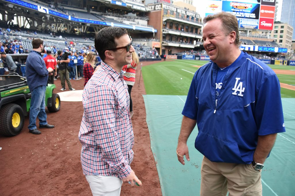 Andrew Friedman with Dodger clubhouse manager Mitch Poole in April (Jon SooHoo/Los Angeles Dodgers)