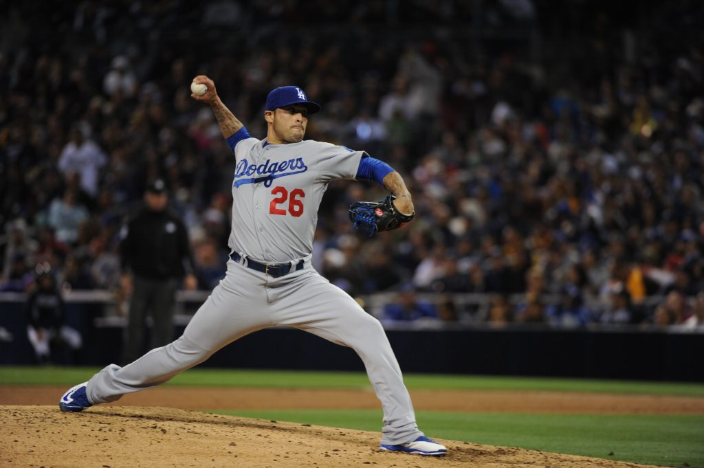 In 10 games this month, Sergio Santos and the Dodger bullpen have allowed 32 baserunners in 28 1/3 innings. (Jon SooHoo/Los Angeles Dodgers)