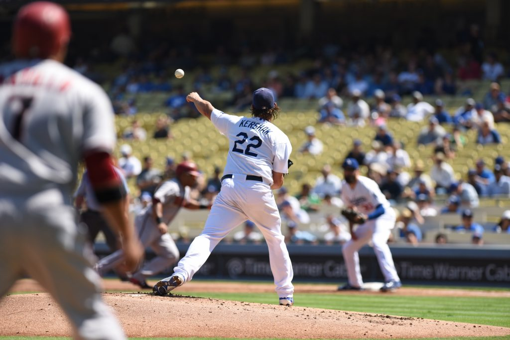Clayton Kershaw making one of his NL-leading 127 pickoff throws in 2015. (Jon SooHoo/Los Angeles Dodgers)
