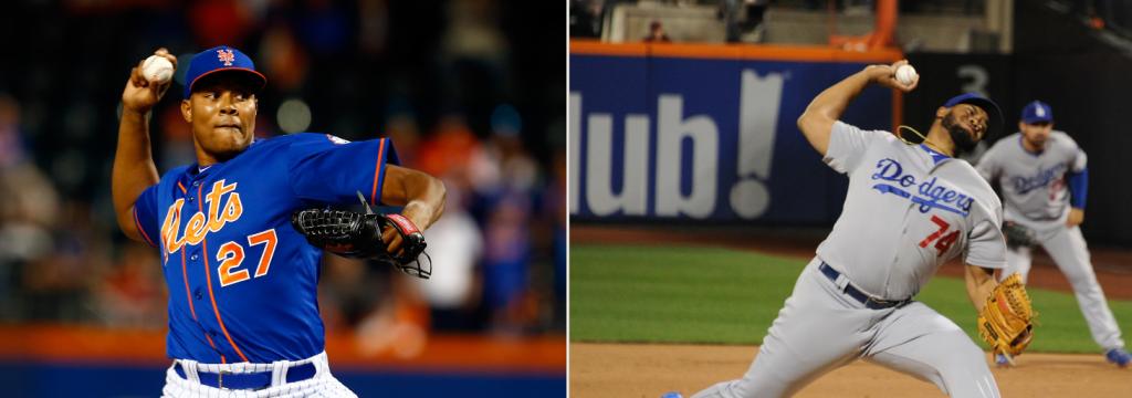 Jeurys Famila (Mike Strobe/Getty Images) and Kenley Jansen (Jon SooHoo/Los Angeles Dodgers)