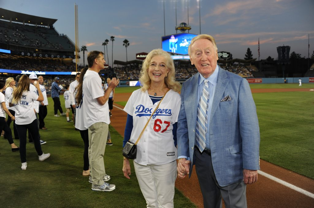 Sandi and Vin Scully at Dodger Stadium on September 23. (Jon SooHoo/Los Angeles Dodgers)