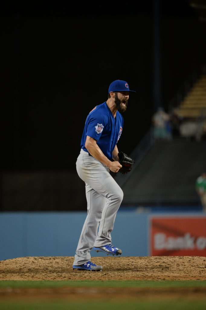 Jake Arrieta finishes his no-hitter August 30 at Dodger Stadium. (Jill Weisleder/Los Angeles Dodgers)