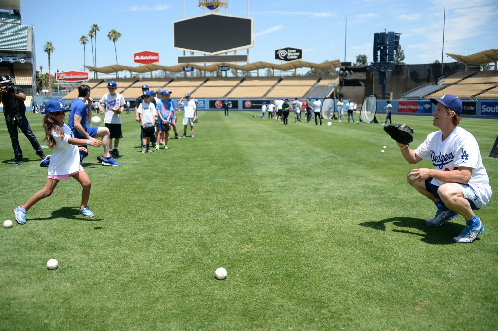 Clayton Kershaw co-hosted a clinic for youth from the Dream Center in July. (Jon SooHoo/Los Angeles Dodgers)