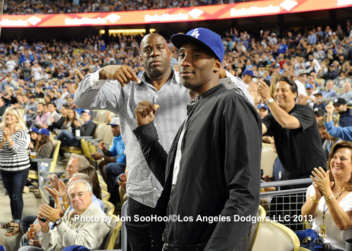 Magic Johnson and Kobe Bryant at Dodger Stadium, July 31, 2013. (Jon SooHoo/Los Angeles Dodgers)
