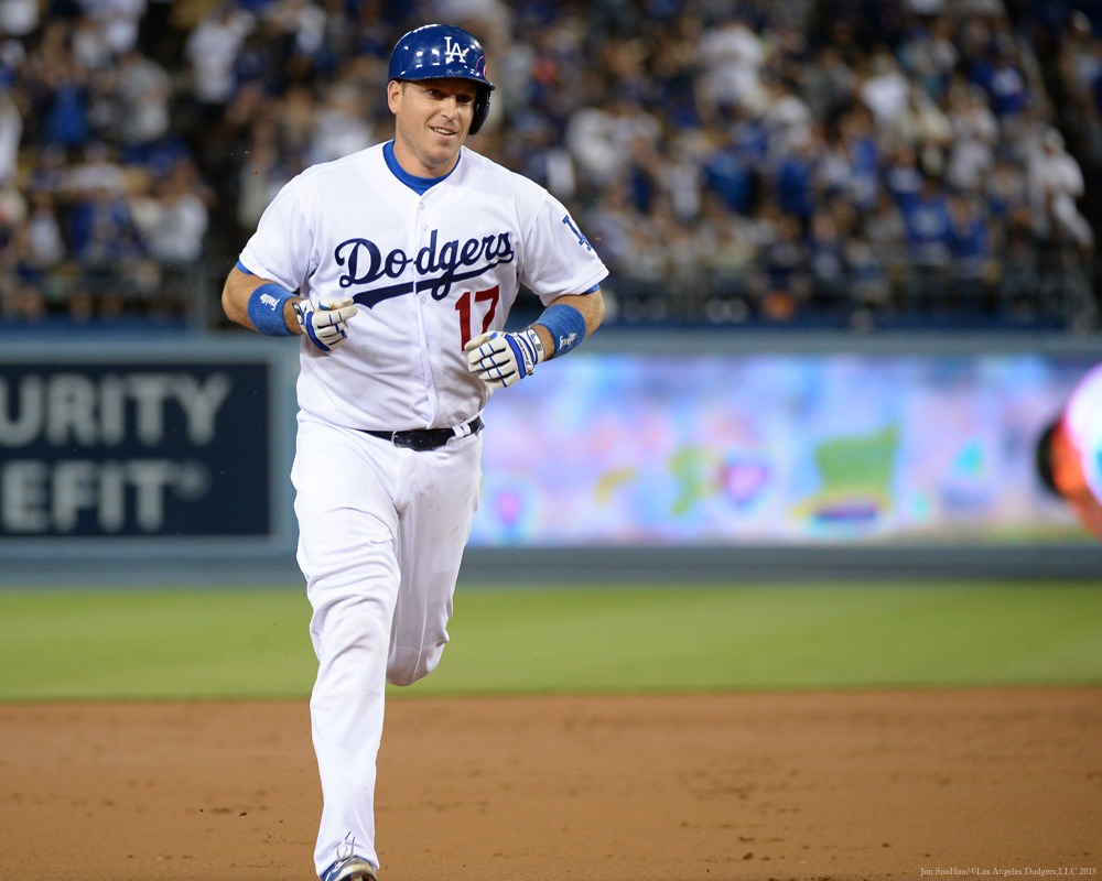 A.J. Ellis homered and caught Alex Wood's eight one-hit innings September 16 against Colorado. (Jon SooHoo/Los Angeles Dodgers)