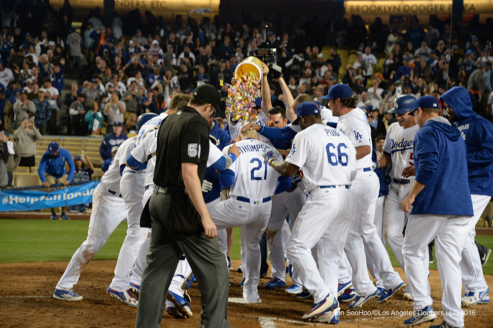 Los Angeles Dodgers greet Trayce Thompson at home after his walk off home run in the ninth against the New York Mets Tuesday, May 10,2016 at Dodger Stadium in Los Angeles,California. The Dodgers beat the Mets 3-2. Jon SooHoo/©Los Angeles Dodgers,LLC 2016