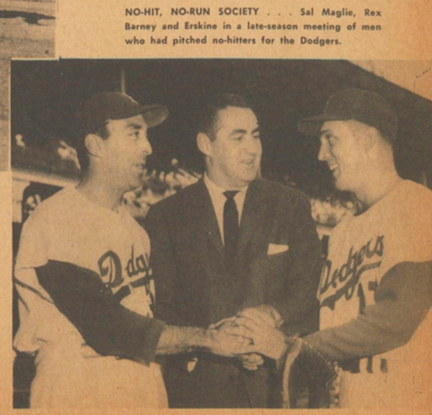 Section from Carl Erskine's page in the 1957 Dodger Yearbook.