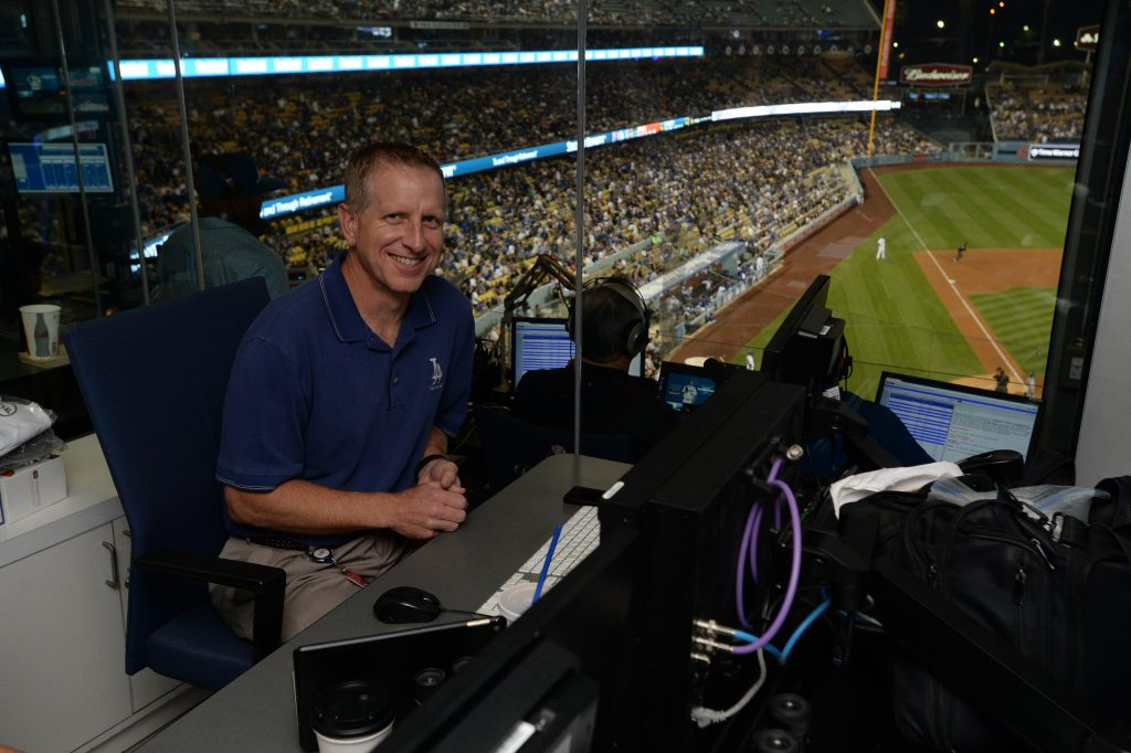 Tom Darin is DodgerVision's engineer in charge and helps keep the presentation on point.